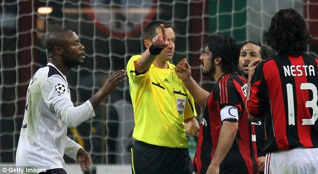 Low point: French official Stephane Lannoy comes head-to-head with Gennaro Gattuso