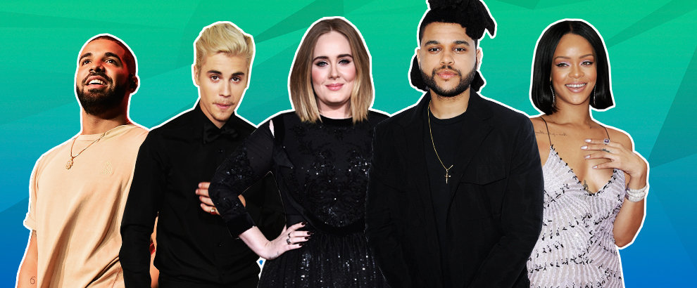 Drake, Justin Bieber, Adele, The Weeknd & Rihanna, 2016 Billboard Music Award nominations