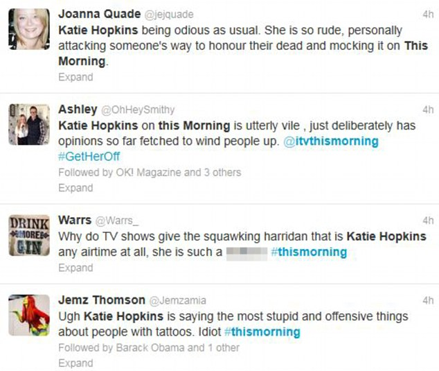 Outraged: Viewers took to Twitter in their droves to express their opinions on Hopkins' comments