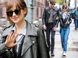 **NO FRANCE** New York, NY - Dakota Johnson and boyfriend Noah Gersh are spotted while out for lunch in the Big Apple. Dakota Johnson is wearing high waisted jeans paired with a blue and white striped button up and a leather moto jacket. Noah compliments her look in jeans and a button up paired with a leather moto jacket as well. \n  \nAKM-GSI      May 3, 2016\n**NO FRANCE**\nTo License These Photos, Please Contact :\nSteve Ginsburg\n(310) 505-8447\n(323) 423-9397\nsteve@akmgsi.com\nsales@akmgsi.com\nor\nMaria Buda\n(917) 242-1505\nmbuda@akmgsi.com\nginsburgspalyinc@gmail.com