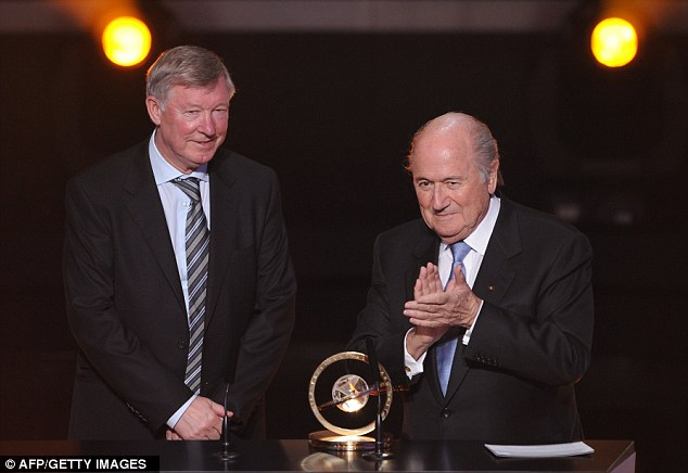 Special praise: Sir Alex Ferguson was given the FIFA presidential award for services to football by Sepp Blatter