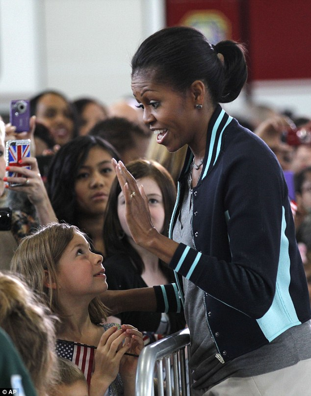 USA's first lady Michelle Obama meets US military families stationed at Mildenhall and Lakenheath US Air Force Base at RAF Mildenhall, England