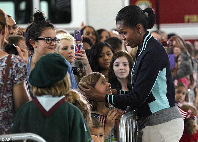 USA's first lady Michelle Obama talks to US military families stationed at Mildenhall and Lakenheath US Air Force Base at RAF Mildenhall, England