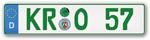 Grünes Nummernschild