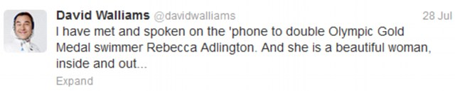 Defence: David Walliams also took to the social networking site to defend the swimmer