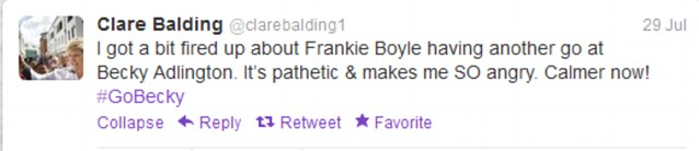 Heated: BBC's Clare Balding said she was 'fired up' after Frankie Boyle tweeted about Adlington