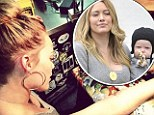 New ink: Hilary Duff tweeted an image of her sixth tattoo in progress on Friday