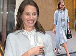 Christy Turlington stops to chat with friends while out and about in NYC  Pictured: Christy Turlington Ref: SPL1277142  060516   Picture by: Jackson Lee/Splash News  Splash News and Pictures Los Angeles: 310-821-2666 New York: 212-619-2666 London: 870-934-2666 photodesk@splashnews.com