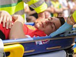Matteo Darmian of Manchester United leaves the game injured during the Barclays Premier League match between Norwich CIty and Manchester United played at Carrow Road, Norwich on May 7th 2016