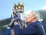 LEICESTER, ENGLAND - MAY 07 :  Manager Claudio Ranieri of Leicester City kisses the Premier League trophy at the King Power Stadium on May 7th , 2016 in Leicester, United Kingdom.  (Photo by Plumb Images/Leicester City FC via Getty Images)