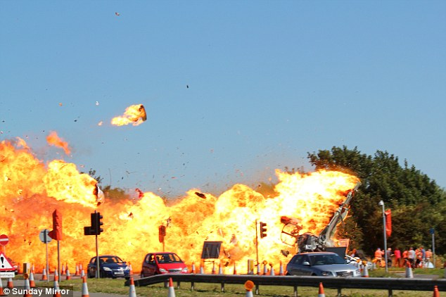 As many as 20 people were killed when a Hunter Hawker fighter jet crashed into cars on theA27 in West Sussex