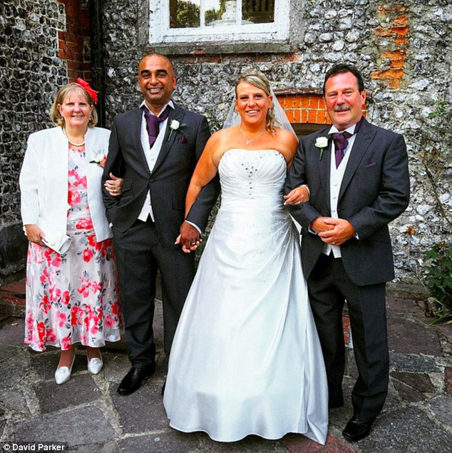 Rebecca and Rajendran Asekaran (pictured) went ahead with their big day and only found out about the Shoreham Airshow disaster which claimed the lives of 20 people after the ceremony