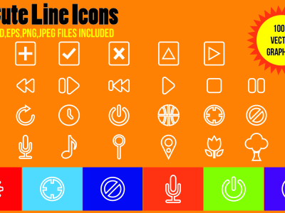 30 Free Cute Line Icons in Vector