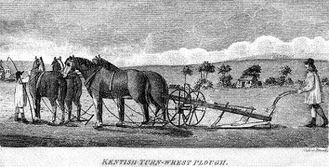 Old print Kentish turn-wrest plough  (ex John Boys book, 1796)