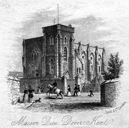 Dover Town Hall, Maison Dieu - old print, probably early 1800s.