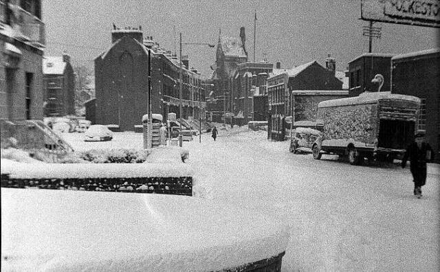 Showing Priory Road in the snow, about 1965