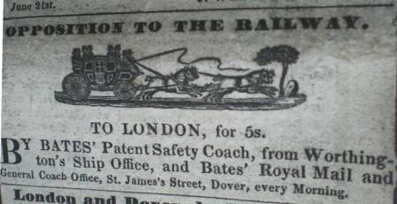 Opposition to the Railway - newspaper advertisement for coaching transport