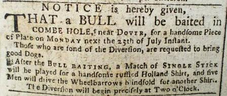 NOTICE of BULL BAITING  to be held at Combe Hole, Buckland