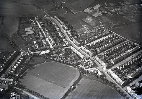 St Martin's Church, in Church Road - aerial view c.1935, in the Elms Vale district of Dover