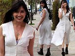 EXCLUSIVE ALL ROUNDER British model Daisy Lowe looks stunning in a white dress split to the thigh.\n8 May 2016.\nPlease byline: Vantagenews.com