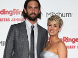 "HOLLYWOOD, CA - JANUARY 06:  Actress Kaley Cuoco (R) and husband Ryan Sweeting attend the premiere of Screen Gems' ""The Wedding Ringer"" at the TCL Chinese Theatre on January 6, 2015 in Hollywood, California.  (Photo by David Livingston/Getty Images)"