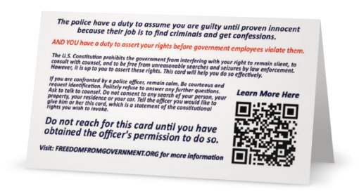 "NOW AVAILABLE at the Freedom from Government Official Online Store - The ""Exercise Your Rights Card"" (REAR VIEW)"