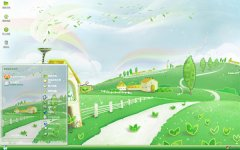 卡通绿色村庄主题