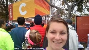 NYC Marathon - Waiting to enter the corral!