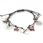 Hultquist Classic Silver and Gold Plated Grey Cord Heart and Pearl Bracelet