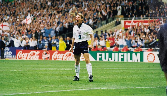 Passionate: Stuart Pearce celebrating his successful penalty during the Euro 1996 game against Spain has become somewhat iconic