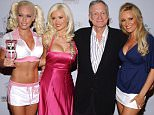 Kendra Wilkinson, Holly Madison, Hugh Hefner and Bridget Marquardt at the The Playboy Mansion in Los Angeles, California (Photo by Jean-Paul Aussenard/WireImage)
