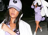 West Hollywood, CA - Rihanna arrives for a night out at The Nice Guy before her next Anti World Tour Stop in Dallas. The 'Work' singer looked stylish in a lace up purple dress and heartbreaker hat paired with white lace up white heels and matching white coat. AKM-GSI         May 11, 2016 To License These Photos, Please Contact : Steve Ginsburg (310) 505-8447 (323) 423-9397 steve@akmgsi.com sales@akmgsi.com or Maria Buda (917) 242-1505 mbuda@akmgsi.com ginsburgspalyinc@gmail.com