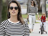 Exclusive... 52050137 Model Alessandra Ambrosio takes her son Noah out for a bike ride in Santa Monica, California on May 10, 2016. Alessandra took a break from caring for her father who has Multiple Sclerosis to spend some time with her son. FameFlynet, Inc - Beverly Hills, CA, USA - +1 (310) 505-9876