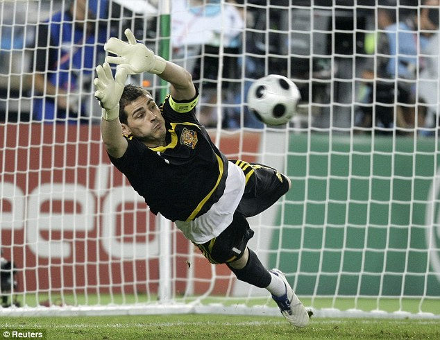 Class: Spain's Iker Casillas has a record number of international caps and he makes crucial saves every match