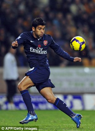 Arsenal's Eduardo controls the ball during the match against Wolves