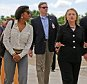 Cheryl Mills, left, walks with Secretary of State Hillary Clinton, center, Senator Patrick Leahy, and Hilda Solis, the U.S. Secretary of Labor as Clinton arrives at Caracol, Haiti, Monday, October 22, 2012. Clinton arrived to inaugurate the one tangible showcase of post-earthquake aid in Haiti, a controversial industrial park that is supposed to create 60,000 jobs in the coming years. Also along on the trip, former President Bill Clinton and more than two dozen leaders of major companies. The former president hopes to persuade the CEOs to invest in the troubled Caribbean country.