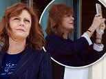 Susan Sarandon seen taking photos and selfies on the balcony of her hotel Featuring: Susan Sarandon Where: Cannes, France When: 12 May 2016 Credit: WENN.com **Not available for publication in Italy**
