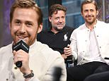 "NEW YORK, NY - MAY 13:  Matt Bomer, Russell Crowe and Ryan Gosling attend AOL Build Speaker Series to discuss ""The Nice Guys"" at AOL Studios In New York on May 13, 2016 in New York City.  (Photo by Laura Cavanaugh/FilmMagic)"