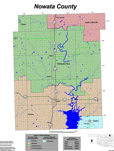 Map of School Districts in Nowata County