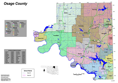 Map of School Districts in Osage County