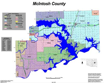 Map of School Districts in Mcintosh County