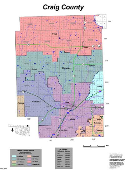 Map of School Districts in Craig County