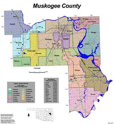Map of School Districts in Muskogee County