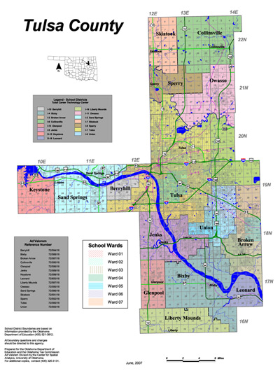 Map of School Districts in Tulsa County