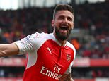 LONDON, UNITED KINGDOM - MAY 15:  Olivier Giroud of Arsenal celebrates scoring his team's second goal during the Barclays Premier League match between Arsenal and Aston Villa at Emirates Stadium on May 15, 2016 in London, England.  (Photo by Julian Finney/Getty Images)
