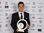 LIVERPOOL, ENGLAND - MAY 12:  (THE SUN OUT, THE SUN ON SUNDAY OUT) Philippe Coutinho of Liverpool poses with the goal of the season award at the Liverpool FC End of Season Awards at The Exhibition Centre on May 12, 2016 in Liverpool, England.  (Photo by Andrew Powell/Liverpool FC via Getty Images)