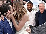 Actors Edgar Ramirez and Ana De Armas kiss as they pose for photographers during a photo call for the film Hands of Stone at the 69th international film festival, Cannes, southern France, Monday, May 16, 2016. (AP Photo/Thibault Camus)