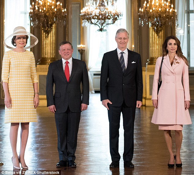 Queen Mathilde,  King Abdullah of Jordan, King Philippe and Queen Rania pose for an official photo at the beginning of the Jordanian royals' two-day state visit to Belgium