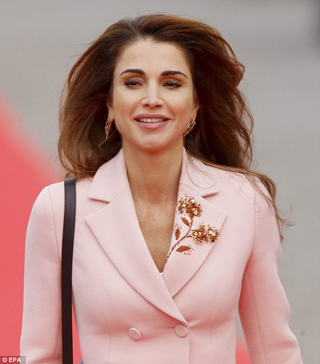 The Jordanian royal looked elegant in a pink coat with an embroidered lapel