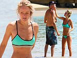 EXCLUSIVE: Baywatch star David Hasselhoff takes beach photos of fiancee Hayley Roberts in Barbados.\nThe Hoff, 63, and his 36-year-old fiancee, are enjoying a romantic vacation in the Caribeen weeks after announcing their engagement.\nThe Hoff may be claiming financial hardship because of alimony payments to second wife, actress Pamela Bach, but it didn't stop him spending thousands entertaining his young Welsh girlfriend.\nDespite earning millions from his TV career, court documents have revealed Hasselhoff owes more than $100,000 in credit card debt and claims each month he's left with virtually no money to live on.\nThe former Knight Rider actor met Hayley while a judge on Britain's Got Talent. He proposed to her earlier this month after nearly five years of dating.\nHasselhoff's first marriage was to singer Catherine Hickland for five years before they split in 1989. He later tied the knot with Bach, with whom he has two children.\n**MINIMUM FEE £250 POUNDS PER IMAGE**\nPlease con